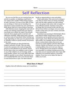 Self Reflection 4th - 5th Grade Worksheet | Lesson Planet
