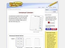 Semiannual Calendars Worksheet
