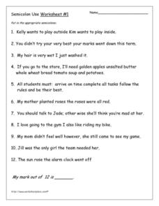 Semicolon Use: Worksheet #1 5th - 6th Grade Worksheet | Lesson Planet