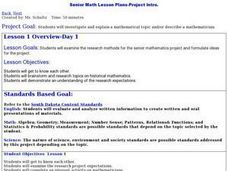 Senior Math Lesson Plans-Project Intro. Lesson Plan