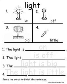 Sentence Completion Using Word/ Picture Boxes- Light Worksheet