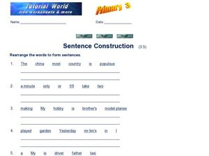 Sentence Construction 5 Worksheet