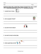 Sentence Conventions: Capital Letters Worksheet