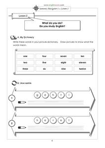 Sentence Navigator 1 – Lesson 2 Worksheet