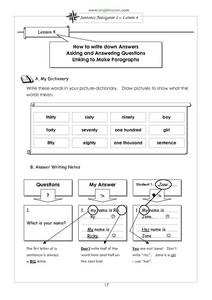 Sentence Navigator 1: Lesson 4 Worksheet