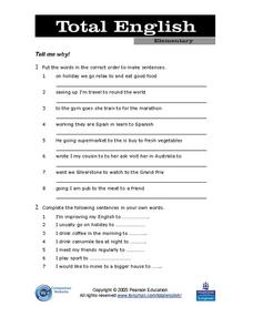 "Sentence Order: ""Tell Me Why!"" Lesson Plan"
