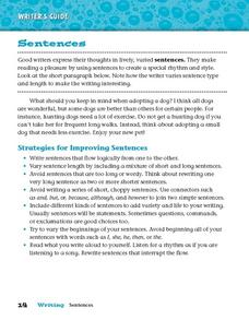 Sentence Strategies Worksheet