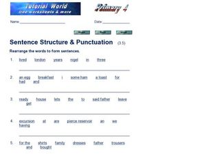 Sentence Structure and Punctuation 2 Worksheet