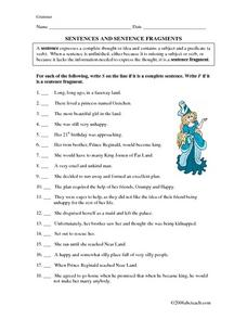 Sentences And Sentence Fragments Worksheet