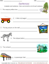Sentences-Complete and Punctuate Worksheet