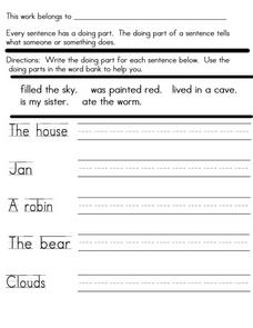 Sentences: Predicates 4 Worksheet