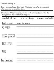 Sentences: Predicates 5 Worksheet
