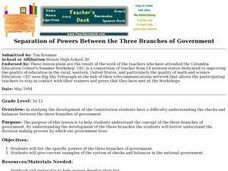 Separation of Powers Between the Three Branches of Government Lesson Plan