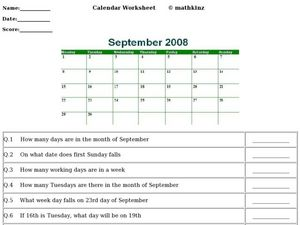 September Calendar Worksheet