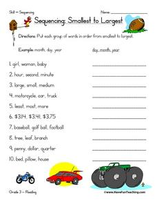 Sequencing: Smallest to Largest Worksheet