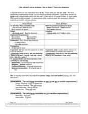 ¿Ser o Estar 6th   9th Grade Worksheet   Lesson Planet