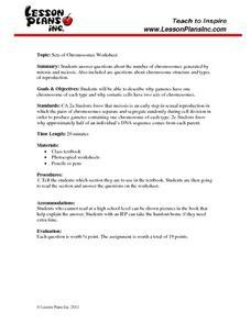 Sets of Chromosomes 9th - 12th Grade Worksheet | Lesson Planet