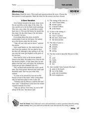 Setting: Faith and Eddie Worksheet