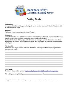 Setting Goals for the Coming School Year Home Activity Worksheet