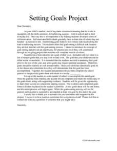 Setting Goals Project Lesson Plan