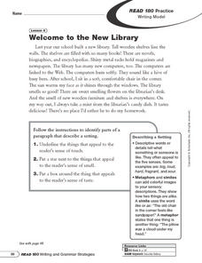 Setting: Welcome To the New Library Worksheet