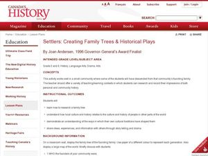 Settlers: Creating Family Trees & Historical Plays Lesson Plan