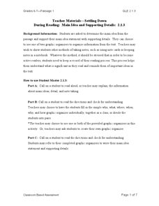 """Settling Down"": Main Idea and Supporting Details Lesson Plan"