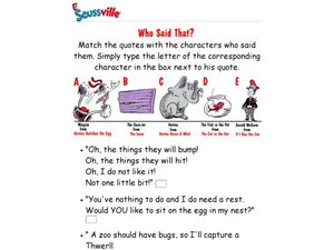Seussville: Who Said That? Worksheet