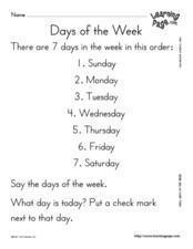 Seven Days of the Week Lesson Plan