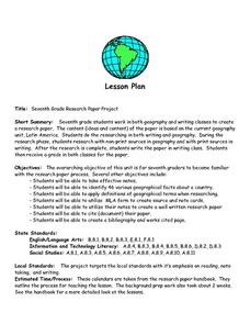Seventh Grade Geography Research Paper Project Lesson Plan
