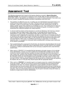 Sexual Education Assessment Tool: Special Education Lesson Plan