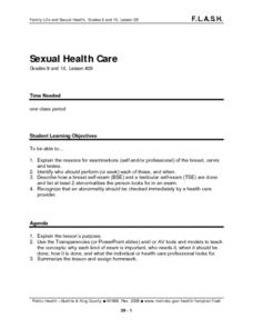 Sexual Health Care Lesson Plan