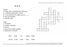 Sh or Ch Crossword Puzzle Worksheet