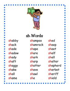 "Sh"" Words Pre-K - 2nd Grade Worksheet 