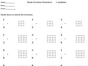 Shade the Fractions Worksheet