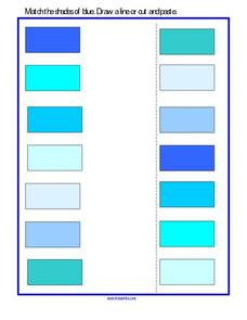 Shades of Blue Matching Worksheet