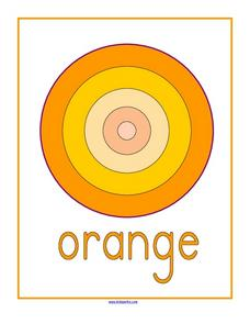 Shades of Orange Coloring Target Match Worksheet