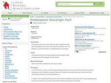 Shakespear Scavenger Hunt Lesson Plan