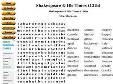 Shakespeare & His Times Worksheet