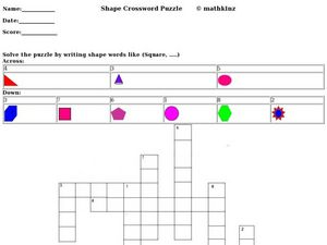 Shape Crossword Puzzle Worksheet