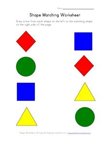Shape Matching Worksheet - In Color Worksheet