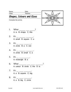 Shapes, Colors, and Sizes Worksheet