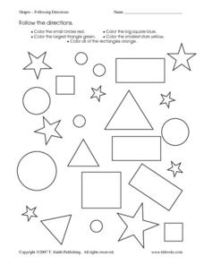 Shapes: Following Directions Worksheet