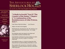 "Sherlock Holmes: ""A Study in Scarlet,"" Chapter 6 Lesson Plan"