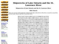 Shipwrecks of Lake Ontario and the St. Lawrence River Worksheet