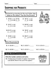 Shopping for Products Worksheet
