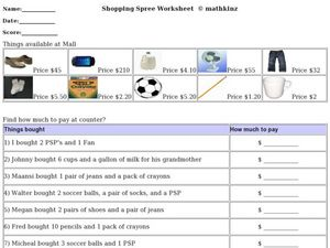Shopping Spree Worksheet Worksheet