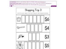 Shopping Trip 3- Dollar Bills Worksheet