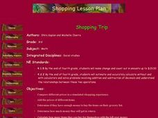 Shopping Trip Lesson Plan