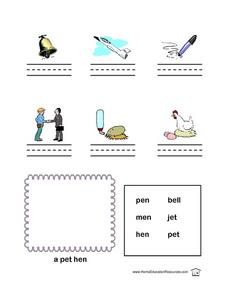 Short E Name the Picture Lesson Plan